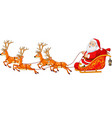 christmas cartoon santa with reindeer sleigh vector image