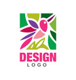 colorful logo design with abstract pink bird and vector image vector image