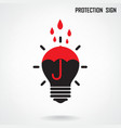 Creative lamp and protection concept background vector image vector image