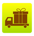 delivery gift sign brown icon at green vector image vector image