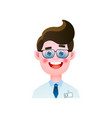 dental doctor smiling with metal eyeglasses in vector image vector image