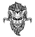 devil head with glare eyes and long hair vector image vector image