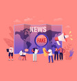 fake news and gossips tiny people reading vector image
