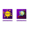 flat square icons covid-19 virus under vector image