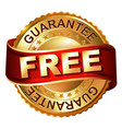 free golden label with ribbon vector image