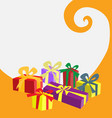 gift box in colors on white and orange background vector image