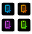 glowing neon flight mode in mobile phone icon vector image vector image