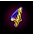 golden and blue letter 4 vector image vector image