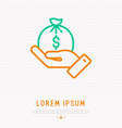 hand holding bag with money thin line icon vector image