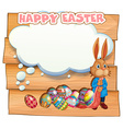 Happy Easter with bunny and eggs vector image