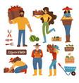 harvesting farming people set men and women vector image