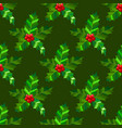 holly seamless pattern dark christmas background vector image