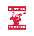 Hunter aiming a shotgun rifle front view vector image vector image