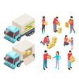 isometric delivery service with people and truck vector image