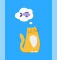 kitty thinking of food fish vector image vector image
