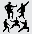 kungfu silhouette martial art action vector image
