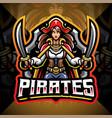 lady pirates esport mascot logo design vector image vector image