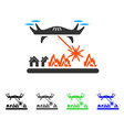 laser drone attacks village flat icon vector image