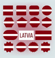 latvia national colors insignia icons set vector image