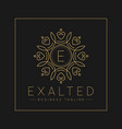 letter e logo with classic and luxurious line art vector image vector image