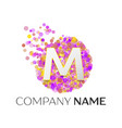 letter m logo with purle particles and bubble dots vector image
