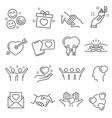 Love and friendship icon set hearts symbols