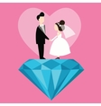 man woman married wedding bride cartoon with blue vector image vector image