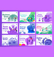 marketing landing page set with different color vector image vector image