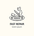 modern linear style bicycle repair logotype vector image