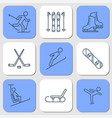 nine icons - winter sport activities vector image vector image