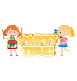 poster design with two girls playing music vector image