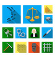prison and the criminal flat icons in set vector image vector image