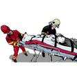 rescuers and saved man on stretcher vector image vector image