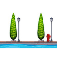 Seamless background with trees and canal vector image vector image