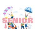 seniors sparetime concept elderly people active vector image vector image
