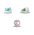 set baseball club logo template sport logo vector image vector image