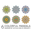 set ethnic fractal mandala meditation looks vector image vector image