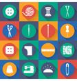 Set icon of sewing in flat design