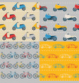 set of seamless patterns with colorful transport vector image vector image