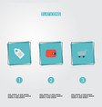 set of store icons flat style symbols with price vector image