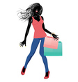 Silhouette of a shopping girl in casual wear2 vector image