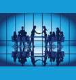 silhouettes of business partnership handshake vector image vector image