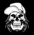 skull wearing cap hand drawingshirt designs vector image vector image