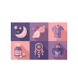 sleep time icons set sweet dreams elements good vector image