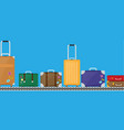 suitcase set on conveyor belt vector image vector image