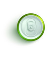 top view of green aluminum soda or beer can mockup vector image