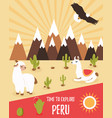 tourist leaflet of peru with cute lamas vector image