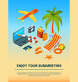 travel background summer time various objects vector image