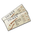 two tickets to a concert of guitar live music vector image vector image