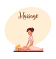 young woman having relaxing back massage lying on vector image vector image